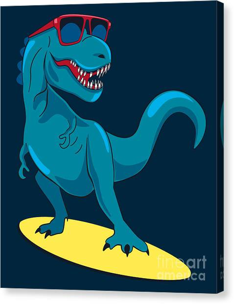 Happy Canvas Print - Surfer, Dinosaur, Monster Vector Design by Braingraph