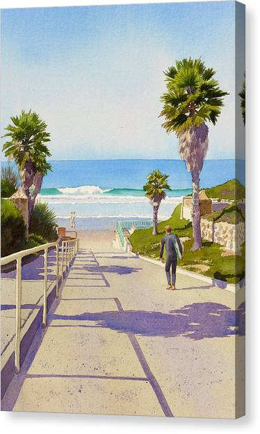 Palm Trees Canvas Print - Surfer Dude At Fletcher Cove by Mary Helmreich