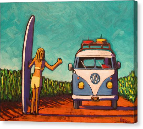 Surfer Girl And Vw Bus Canvas Print