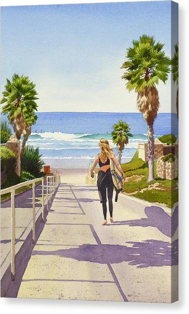 Surfing Canvas Print - Surfer Girl At Fletcher Cove by Mary Helmreich