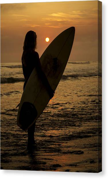 Surfer Girl Sunset Silhouette Canvas Print