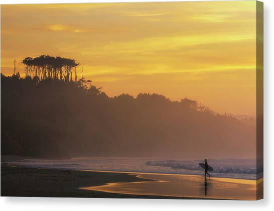 Bodyboard Canvas Print - Surfer In Golden Hour, In Cantabria by Sergio Saavedra
