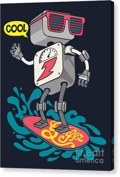 Monsters Canvas Print - Surfer Robot Vector Design For Tee by Braingraph
