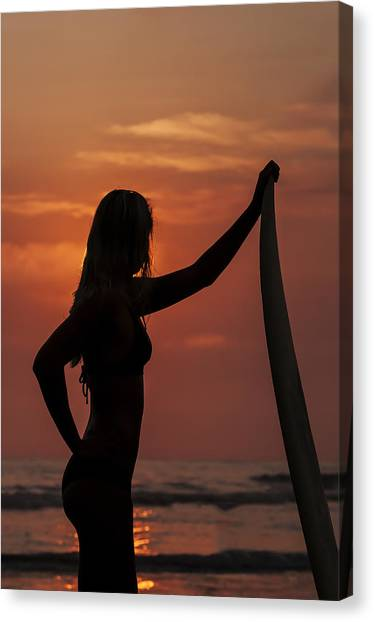 Surfer Sunset Silhouette Canvas Print