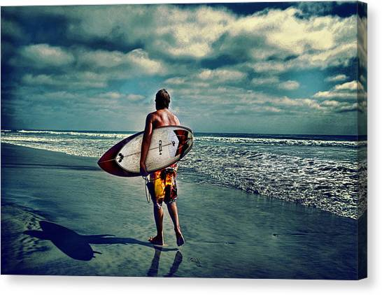 Surfer Walking The Beach Canvas Print