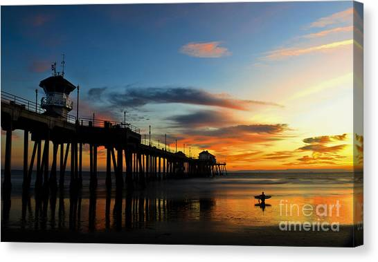 Surfer Watching The Sunset Canvas Print