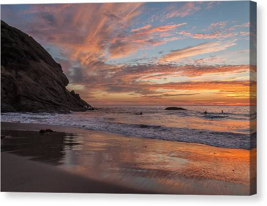 Surfers And Sunset At Strands Beach Dana Point Canvas Print