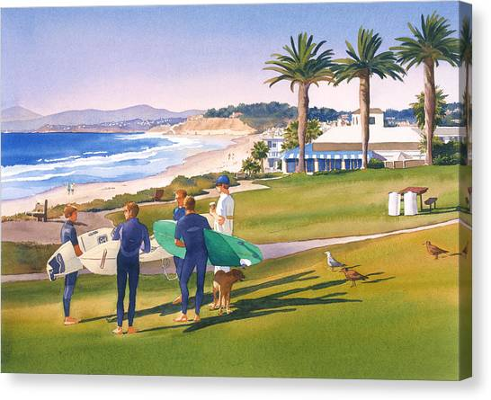 Dogs Canvas Print - Surfers Gathering At Del Mar Beach by Mary Helmreich