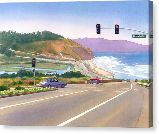 Pacific Coast Canvas Print - Surfers On Pch At Torrey Pines by Mary Helmreich
