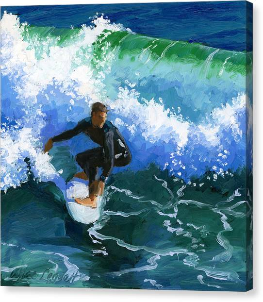Surfboard Canvas Print - Surfin' Huntington Beach Pier by Alice Leggett