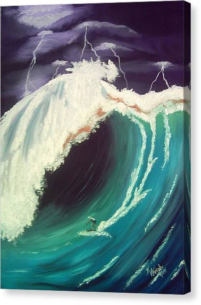 Surfing Dare Devil  Canvas Print by Kathern Welsh