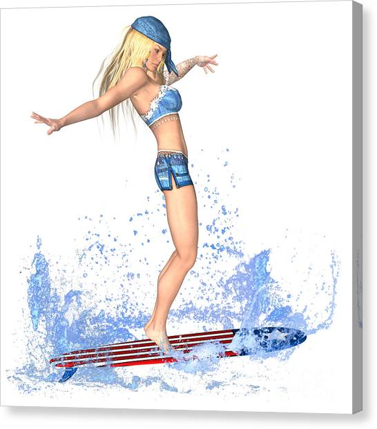Luxmaris Canvas Print - Surfing Girl by Renate Janssen