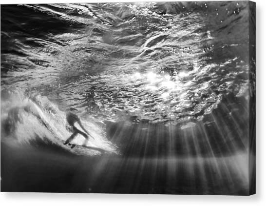 Surfing God Light Canvas Print