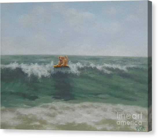 Surfing Golden Canvas Print