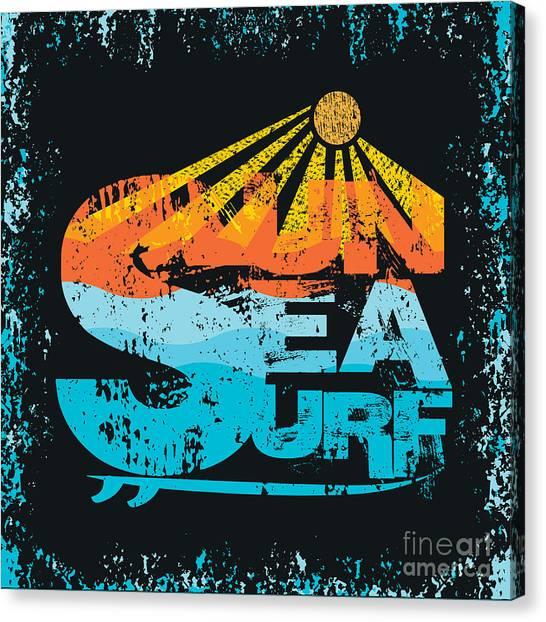 Sun Canvas Print - Surfing Miami Beach, Florida Surfing by Dream master