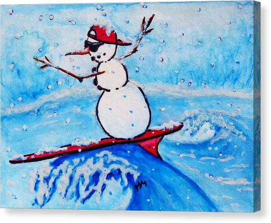 Surfing Snowman Canvas Print