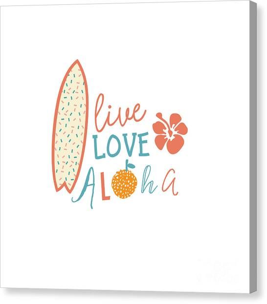 Surfboard Canvas Print - Surfing Summer Emblem With Text Quote by Tasiania