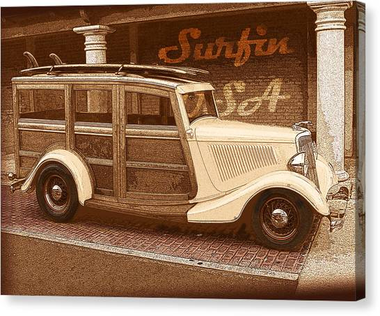 Surfing Usa Woodie Canvas Print