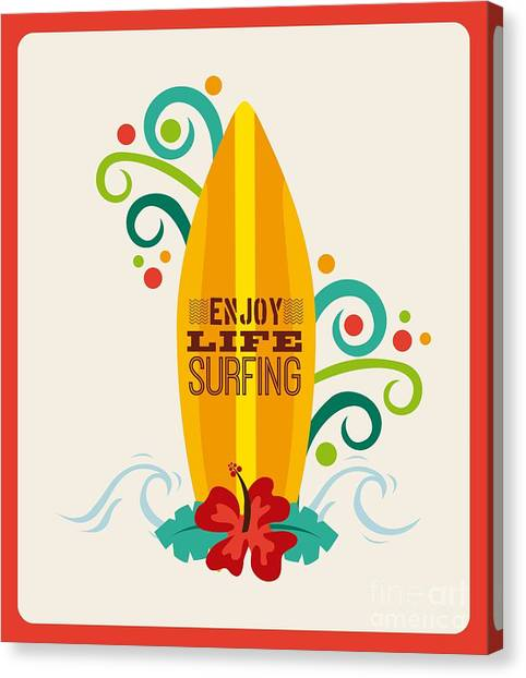 Surfboard Canvas Print - Surfing Zone Graphic Design , Vector by Gst