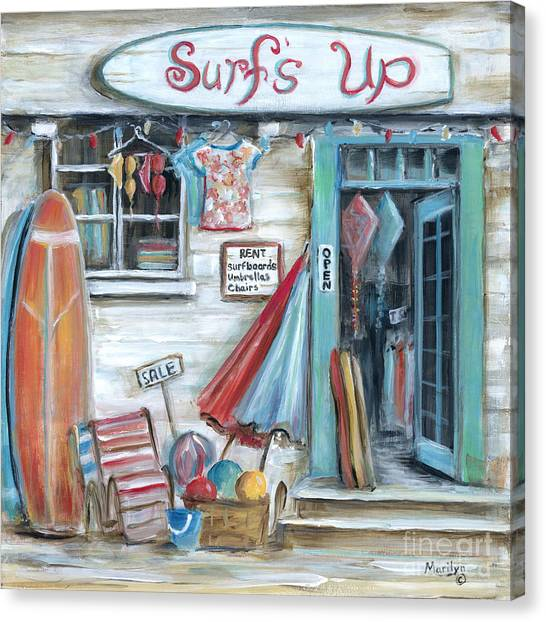 Surfboard Canvas Print - Surfs Up Beach Shop by Marilyn Dunlap
