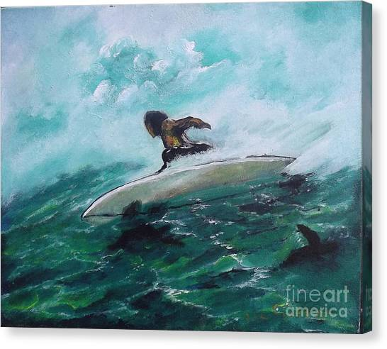 Surfs Up Canvas Print by Donna Chaasadah