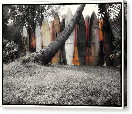 Surfboard Fence Canvas Print - Surfs Up by Linda Dunn