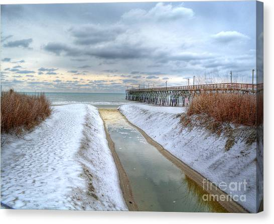Surfside Beach Pier Ice Storm Canvas Print