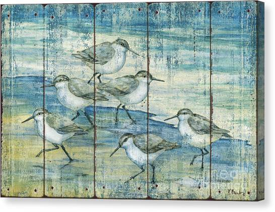 Sandpipers Canvas Print - Surfside Sandpipers - Distressed by Paul Brent