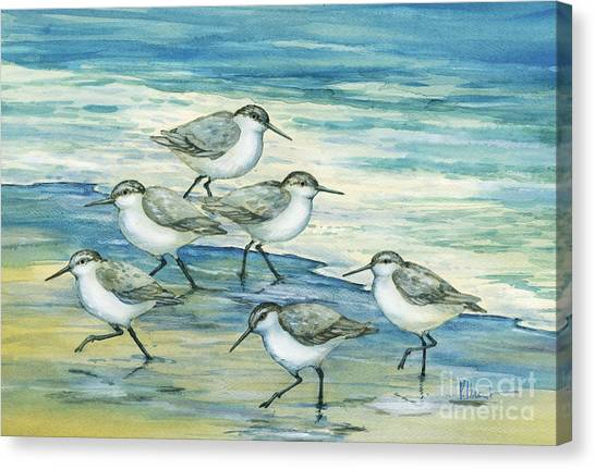 Sandpipers Canvas Print - Surfside Sandpipers by Paul Brent