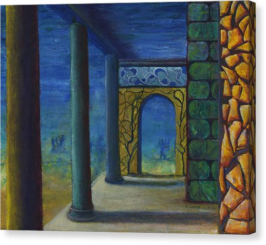 Surreal Art With Walls And Columns Canvas Print