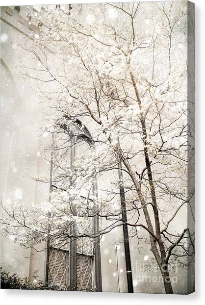 Snow Canvas Print - Surreal Dreamy Winter White Church Trees by Kathy Fornal