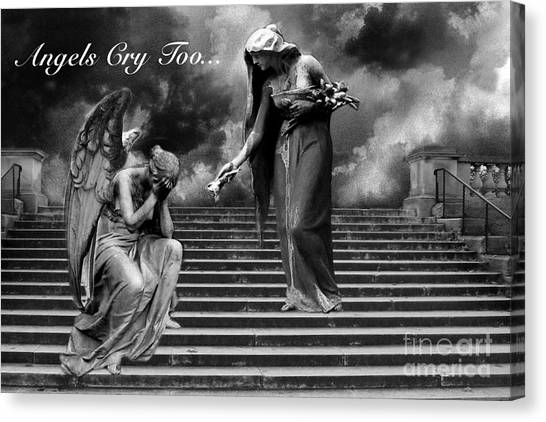 Print On Canvas Print - Surreal Fantasy Angel Art Black And White - Angels Cry Too by Kathy Fornal