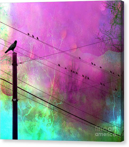 Surreal Gothic Fantasy Raven Crows On Powerlines Canvas Print by Kathy Fornal
