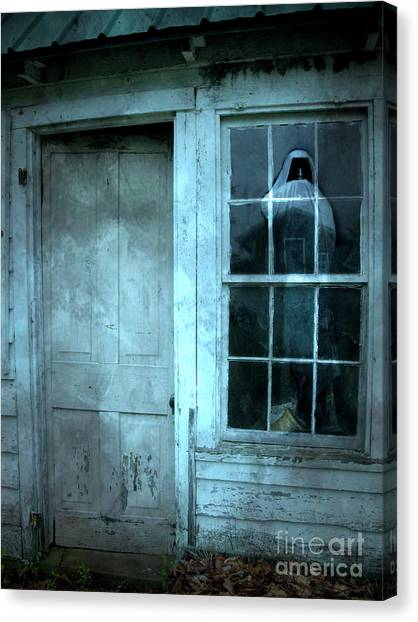 Haunted House Canvas Print - Surreal Gothic Grim Reaper In Window - Spooky Haunted House Reflection In Window by Kathy Fornal