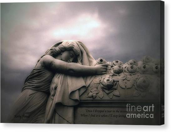 Angel Art By Kathy Fornal Canvas Print - Surreal Gothic Sad Angel Cemetery Mourner - Inspirational Angel Art by Kathy Fornal