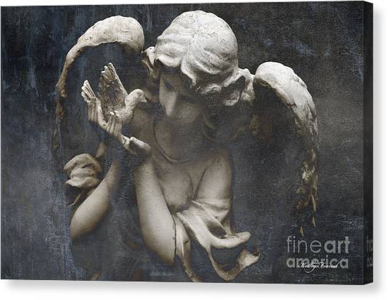 Angel Art By Kathy Fornal Canvas Print - Ethereal Guardian Angel With Dove Of Peace by Kathy Fornal