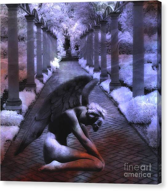 Angel Art By Kathy Fornal Canvas Print - Surreal Infrared Fantasy Angel Art Landscape by Kathy Fornal