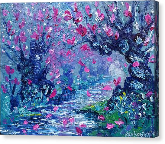 Surreal Landscape Art Pink Flower Tree Painting By Ekaterina Chernova Canvas Print