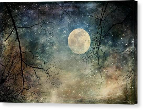Surreal Night Sky Moon And Stars Canvas Print