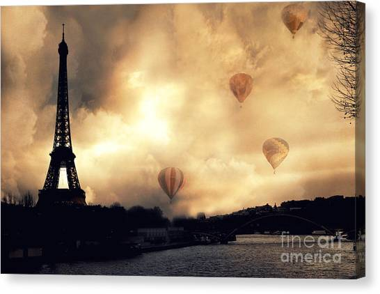 Paris Eiffel Tower Storm Clouds Sunset Sepia Hot Air Balloons Canvas Print