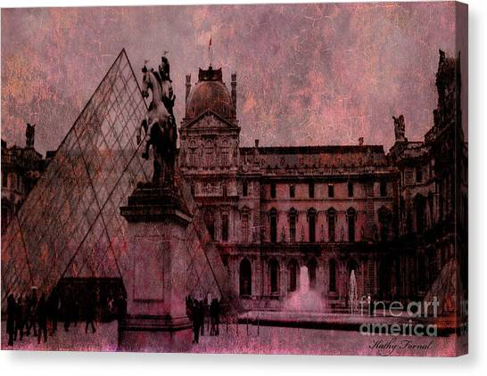 The Louvre Canvas Print - Surreal Paris Louvre Museum Architecture Pyramid by Kathy Fornal