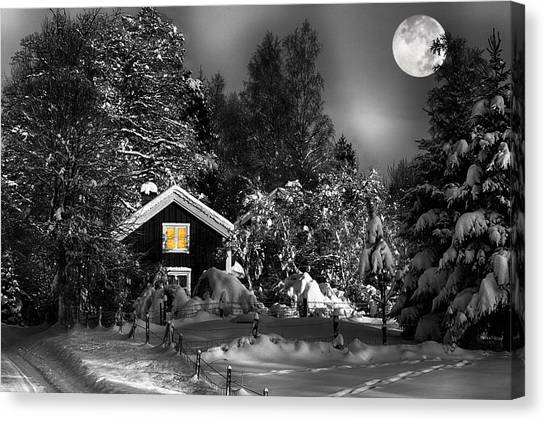 Surreal Winter Landscape With Moonlight Canvas Print