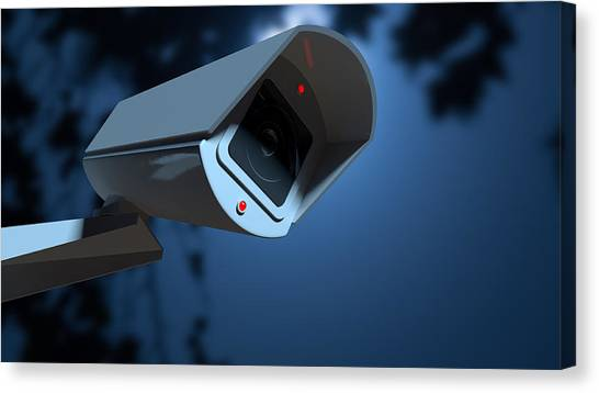 Big Brother Canvas Print - Surveillance Camera In The Night-time by Allan Swart