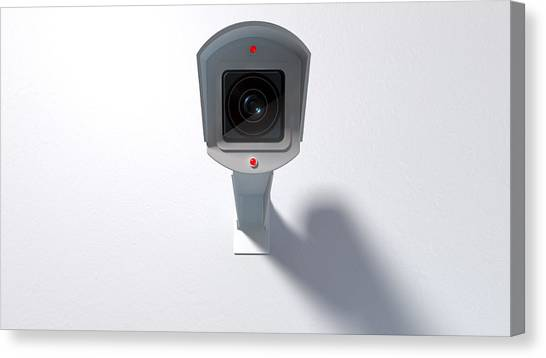 Big Brother Canvas Print - Surveillance Camera On White by Allan Swart