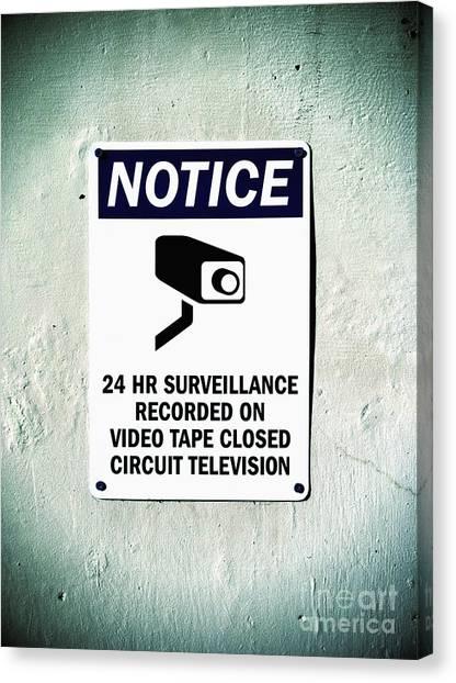 Surveillance Sign On Concrete Wall Canvas Print