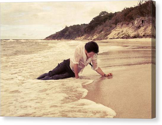 Sandy Beach Canvas Print - Survivor by Cambion Art