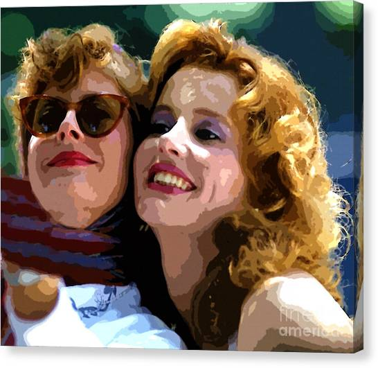 Susan Sarandon And Geena Davies Alias Thelma And Louis - Watercolor Canvas Print