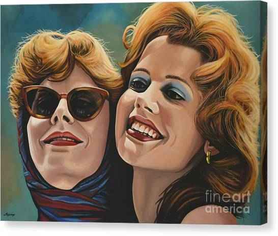Glamour Canvas Print - Susan Sarandon And Geena Davies Alias Thelma And Louise by Paul Meijering