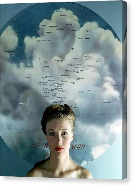 1943 Canvas Print - Susan Shaw In Front Of An Azimuthal Map by John Rawlings