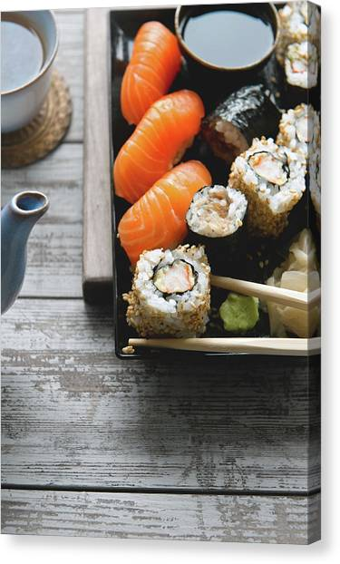 Sushi And Tea Canvas Print